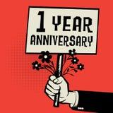 Plakat in der Hand, Geschäftskonzept mit 1-jährigem Jahrestag des Textes lizenzfreie abbildung