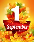 Plakat der hohen Qualität vom 1. September, realistischer Herbstlaub, der erste Ruf Rotes Band an Auf lagerabbildung Lizenzfreie Stockbilder