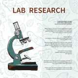Plakat des cientific Labors mit Mikroskop auf nahtlosem Muster Stockbild