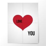 Plakat des gefalteten Papiers mit einem roten Herzen und einer Erklärung von Lizenzfreies Stockfoto