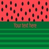 Plakat des modernen Designs mit Platz für Text auf einer abstrakten Wassermelone Lizenzfreie Stockfotos