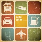 Plakat des vektorweinlese-Transportes (Verkehr) Stockfotos