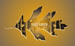 Plakat-Design von Abwehr-Erde, wenn der schöne Herbstwald durch Blattpapierschnitt abgedeckt ist stock abbildung