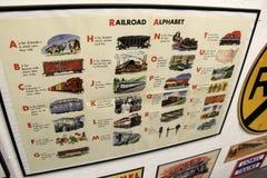 Plakat deska z linii kolejowej abecadłem, linii kolejowej muzeum, Oswego, Nowy Jork, 2016 Zdjęcia Stock