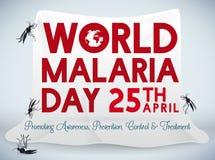 Plakat dla Światowego malaria dnia świętowania z komar siecią, Wektorowa ilustracja Zdjęcie Stock