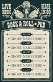 Plakat dla muzycznego rock and roll pubu z muzyk? na ?ywo ilustracja wektor