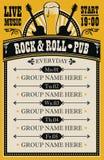 Plakat dla muzycznego rock and roll pubu z muzyk? na ?ywo ilustracji