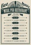 Plakat dla muzycznej karczemnej restauracji z muzyk? na ?ywo royalty ilustracja