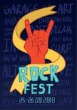 Plakat dla muzyka rockowa festiwalu Ręka w skały n rolki znaku, gest również zwrócić corel ilustracji wektora ilustracja wektor