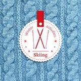 Plakat für einen Winterbetrieb Ski fahren als Wintervergnügen Stockfotos