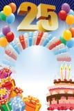 Plakat für fünfundzwanzigsten Geburtstag Stockbilder
