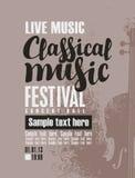 Plakat für Festival der klassischen Musik mit Violine Lizenzfreie Stockfotografie