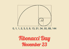 Plakat für Fibonacci-Tag (23. November) Stockfotos