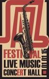 Plakat für Jazzfestivallive-musik mit Saxophon Lizenzfreie Stockfotos