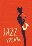 Plakat für Jazzmusikfestival oder -konzert Der Musiker spielt das Saxophon Abbildung stock abbildung