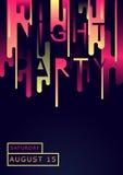 Plakat für Nachtpartei in der modernen Art Abstrakte Zusammensetzung wütend Stockfotografie