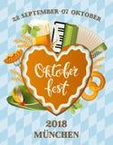 Plakat für Oktoberfest-Festival Biersatz mit Hahn, Glas, Hopfenniederlassung mit Blatt, Fass Weinlesevektor-Farbstich Stockfotografie