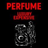 Plakat für Parfümfirma mit Mädchen Lizenzfreies Stockbild