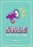 Plakat für Verkauf mit Megaphon Stockfoto