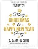 Plakat für Weihnachts- und des neuen Jahrespartei Einladungskarte _1 Der Text wird vom Goldfunkeln gemacht Weißer Hintergrund Die lizenzfreie abbildung