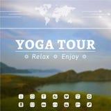 Plakat für Yogaausflug, Reise, Reise, Ferien auf einem Naturhintergrund Stockbild