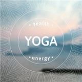 Plakat für Yogaklasse mit einer Seeansicht ENV, JPG Stockbild