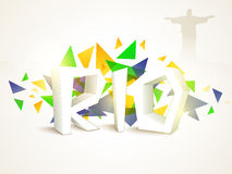 Plakat, Fahne mit 3D Text Rio Stockfoto