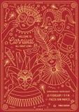Plakat-, Flieger- oder Einladungsschablone für Kostümball, Karneval, Festival oder Partei mit dem Charaktertragen festlich vektor abbildung
