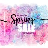 Plakat-Frühlingsverkäufe auf einem Blumenaquarellhintergrund Karte, Aufkleber, Flieger, Fahnengestaltungselement Auch im corel ab Lizenzfreies Stockbild