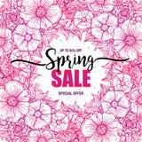 Plakat-Frühlingsverkäufe auf einem runden Kranzhintergrund Karte, Aufkleber, Flieger, Typografieplakat, Fahnengestaltungselement  Lizenzfreie Stockbilder