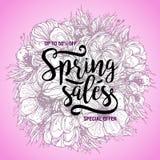 Plakat-Frühlingsverkäufe auf einem runden mit Blumenhintergrund Karte, Aufkleber, Flieger, Fahnengestaltungselement Auch im corel Lizenzfreies Stockfoto