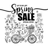 Plakat-Frühlingsverkäufe, Satz schwarze Ikonen und Symbole mit Fahrrad auf weißem Hintergrund, Fliegerschablonen mit Beschriftung Lizenzfreie Stockbilder