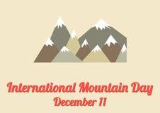 Plakat für internationalen Gebirgstag (11. Dezember) Lizenzfreies Stockbild