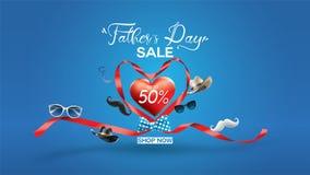 Plakat glückliche Förderung des Vatertags, des Verkaufs kreatives oder Einkaufsentwurf schablone der Fahne mit 50% weg von den An