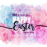 Plakat-glückliche Ostern-Verkäufe mit Eiern auf Aquarellhintergrund, Fliegerschablonen mit Beschriftung Typografieplakat, Karte Lizenzfreie Stockfotos