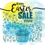 Plakat-glückliche Ostern-Verkäufe, Satz blaue Ikonen und Symbole, Korb mit Eiern auf Aquarellhintergrund, Typografieplakat Lizenzfreie Stockfotografie
