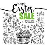 Plakat-glückliche Ostern-Verkäufe, Satz schwarze Ikonen und Symbole mit Korb mit Eiern auf weißem Hintergrund, Typografieplakat Lizenzfreie Stockbilder