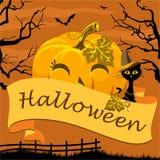 Plakat glückliches Halloween mit Kürbis und Katze Stockfoto