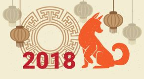 Plakat-Hund des neuen Jahr-2018 und chinesische Laternen-Feiertags-Karte mit Tierkreis-Symbol stockbilder