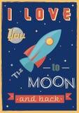 Plakat: Ich liebe dich zum Mond und zur Rückseite Stockbild