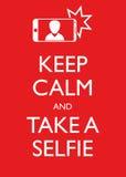 Plakat-Illustrations-grafischer Vektor halten Ruhe und nehmen ein Selfie Stockfotos