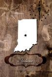 Plakat-Indiana-Staatskartenentwurf Stockfotos
