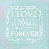 Plakat kocham ciebie na zawsze. Błękitny. Zdjęcia Stock
