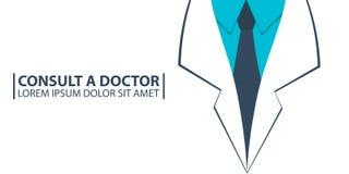 Plakat Konsultuje lekarkę, opieka medyczna Medyczna toga Wektorowa płaska ilustracja royalty ilustracja