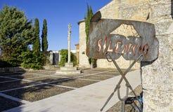 Plakat lokalizować w monasterze prowincja Palencia cisza obraz royalty free