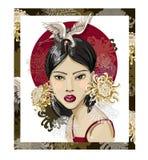 Plakat lub projekt koszulka z Japońską mody dziewczyną, żurawiami i kwiatami, również zwrócić corel ilustracji wektora ilustracja wektor
