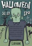 Plakat lub ulotka dla Halloween przyjęcia Żywi trupy chodzi wśród grób w cmentarzu Wektorowa szablon ilustracja ilustracja wektor