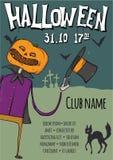 Plakat lub ulotka dla Halloween przyjęcia Jack ` - lampion wśród grób w cmentarzu Wektorowa szablon ilustracja royalty ilustracja