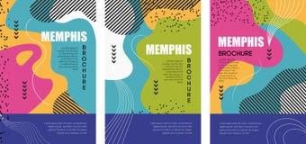 PLAKAT 12 Memphis und Hippie-Artbrosch?ren mit bunten geometrischen Elementen lizenzfreie abbildung