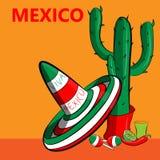 Plakat Mexiko mit dem Bild der mexikanischen Flagge, des Sombreros, würzigen der Paprikapfeffer, der maracas und vieler Kakteen lizenzfreie stockfotografie